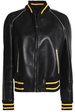 VALENTINO Metallic-trimmed printed leather jacket
