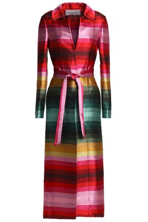 VALENTINO Belted striped silk-satin twill coat