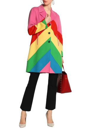 VALENTINO Color-block wool and cashmere-blend felt coat