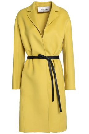 VALENTINO Leather-trimmed wool and cashmere-blend felt coat