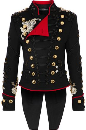 DOLCE & GABBANA Embellished wool-blend felt jacket