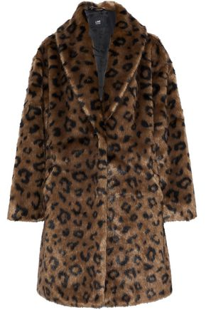 LINE Olivia leopard-print faux fur coat