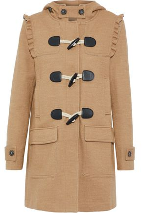 JOIE Karinka ruffle-trimmed wool-blend hooded coat