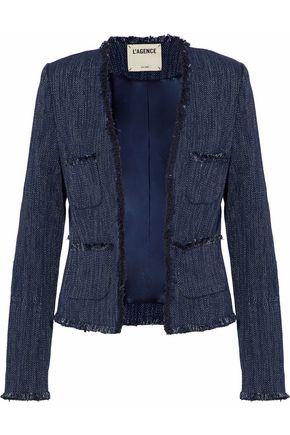 L'AGENCE Jules frayed-trimmed cotton-blend jacket