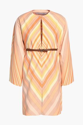 VALENTINO Belted printed wool and silk-blend mini dress