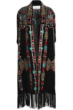 VALENTINO Fringed embroidered suede cape