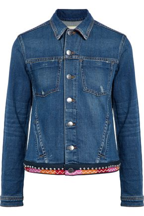 WOMAN APPLIQUÉD DENIM JACKET MID DENIM