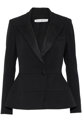 OSCAR DE LA RENTA Satin-trimmed stretch-wool jacket
