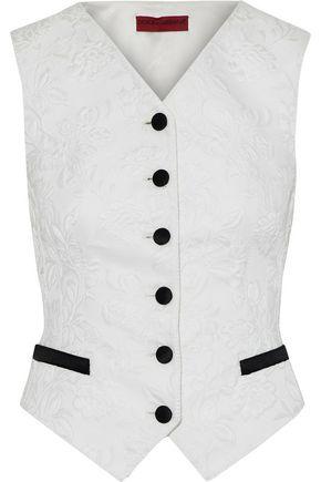 DOLCE & GABBANA Satin-trimmed cotton-blend matelassé vest