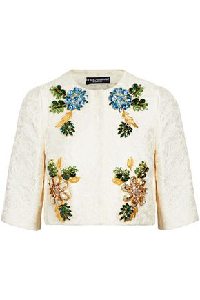 DOLCE & GABBANA Crystal-embellished cotton and silk-blend brocade jacket