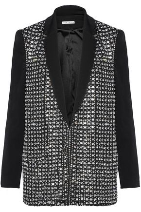 ALICE+OLIVIA Crystal-embellished crepe jacket