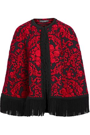 DOLCE & GABBANA Fringed brocade cape