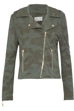 Woman Gracia Printed Jersey Biker Jacket Army Green