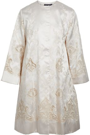 DOLCE & GABBANA Embroidered silk-blend satin-twill coat