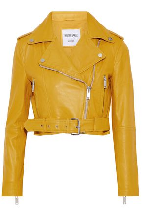 W118 by WALTER BAKER Shirley cropped leather biker jacket