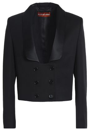 ALEXA CHUNG Double-breasted satin-trimmed wool-twill jacket