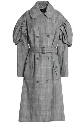 SIMONE ROCHA Prince of Wales checked gathered cotton-blend coat