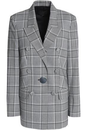 ALEXANDER WANG Double-breasted Prince of Wales checked woven blazer