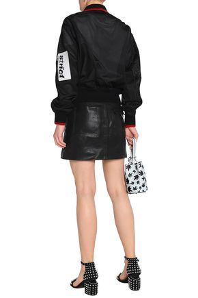 ALEXANDER WANG Faux leather-trimmed embellished mesh bomber jacket