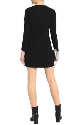 ALEXANDER WANG Fringed leather-trimmed crepe mini dress