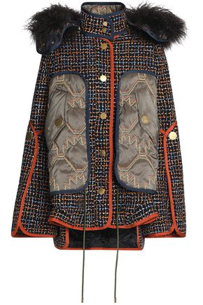 PETER PILOTTO Shearling-trimmed shell-paneled tweed hooded jacket