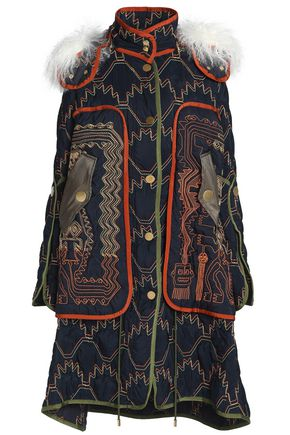 PETER PILOTTO Shearling-trimmed embroidered shell hooded coat