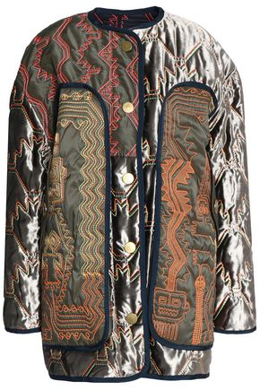PETER PILOTTO Paneled embroidered quilted velvet jacket