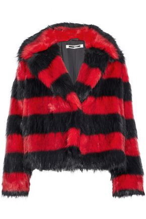 McQ Alexander McQueen Striped faux fur jacket
