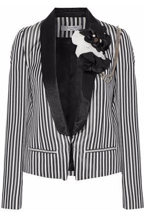 LANVIN Appliquéd pinstriped satin blazer