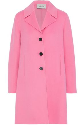 VALENTINO Pleated wool and cashmere-blend coat