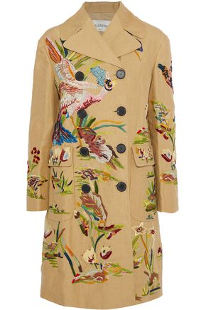 VALENTINO Double-breasted embroidered woven flax coat