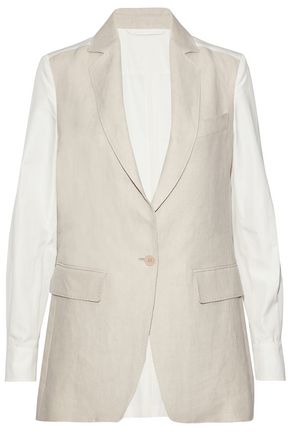 MAX MARA Paneled linen and cotton-poplin blazer