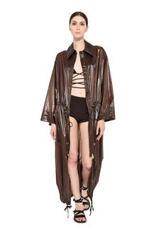 ALBERTA FERRETTI Maxi trench in nylon Long coat Woman f
