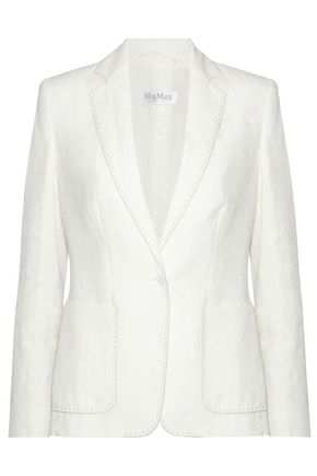 MAX MARA Leather-trimmed woven linen blazer