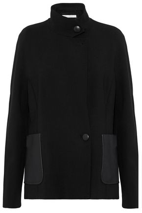 MAX MARA Leather-trimmed stretch-wool  blazer