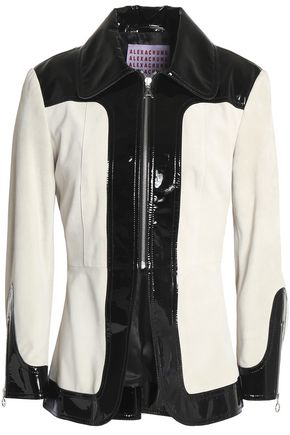 ALEXACHUNG Faux patent leather-paneled suede jacket