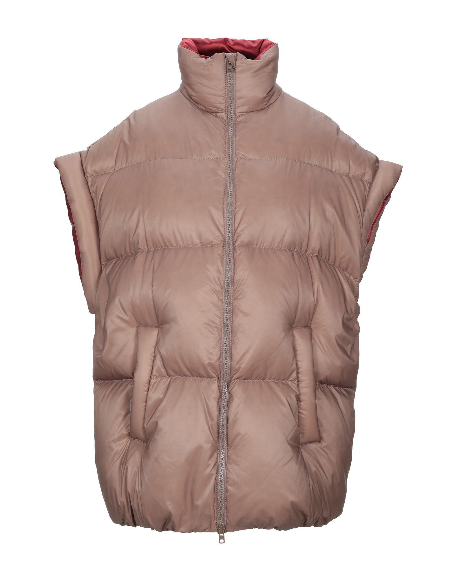 MAISON MARGIELA Down jackets. techno fabric, no appliqués, basic solid color, single-breasted, zip, turtleneck, multipockets, short sleeves, goose down interior, contains non-textile parts of animal origin, outerwear, large sized. 100% Polyamide, Virgin Wool