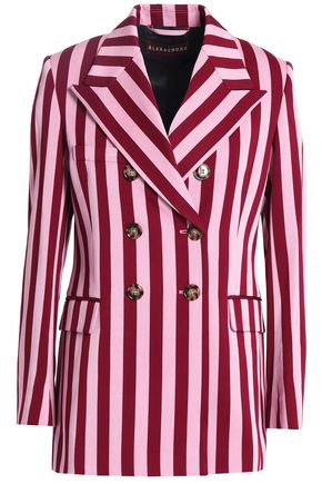 ALEXACHUNG Double-breasted striped crepe blazer