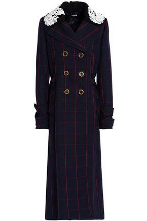 MIU MIU Guipure lace-paneled checked wool coat