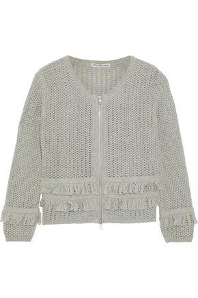 AUTUMN CASHMERE Fringe-trimmed open-knit cotton jacket