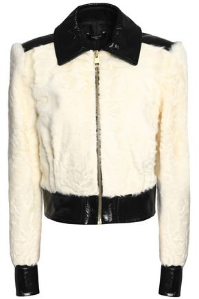 LANVIN Patent leather-paneled shearling jacket