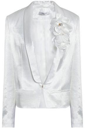 LANVIN Embellished floral appliquéd satin blazer