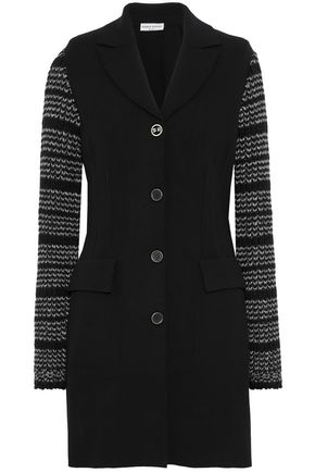 SONIA RYKIEL Two-tone knitted-paneled ponte jacket