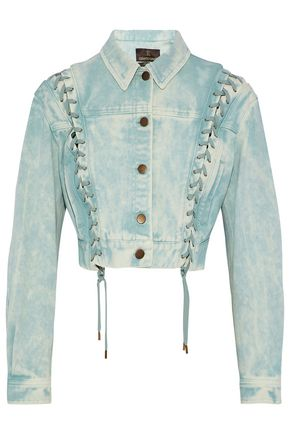 ROBERTO CAVALLI Cropped lace-up bleached denim jacket
