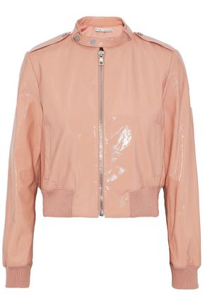ALICE+OLIVIA Rib-trimmed patent-leather bomber jacket