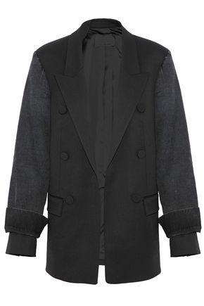 ALEXANDER WANG Denim-paneled wool-blend blazer