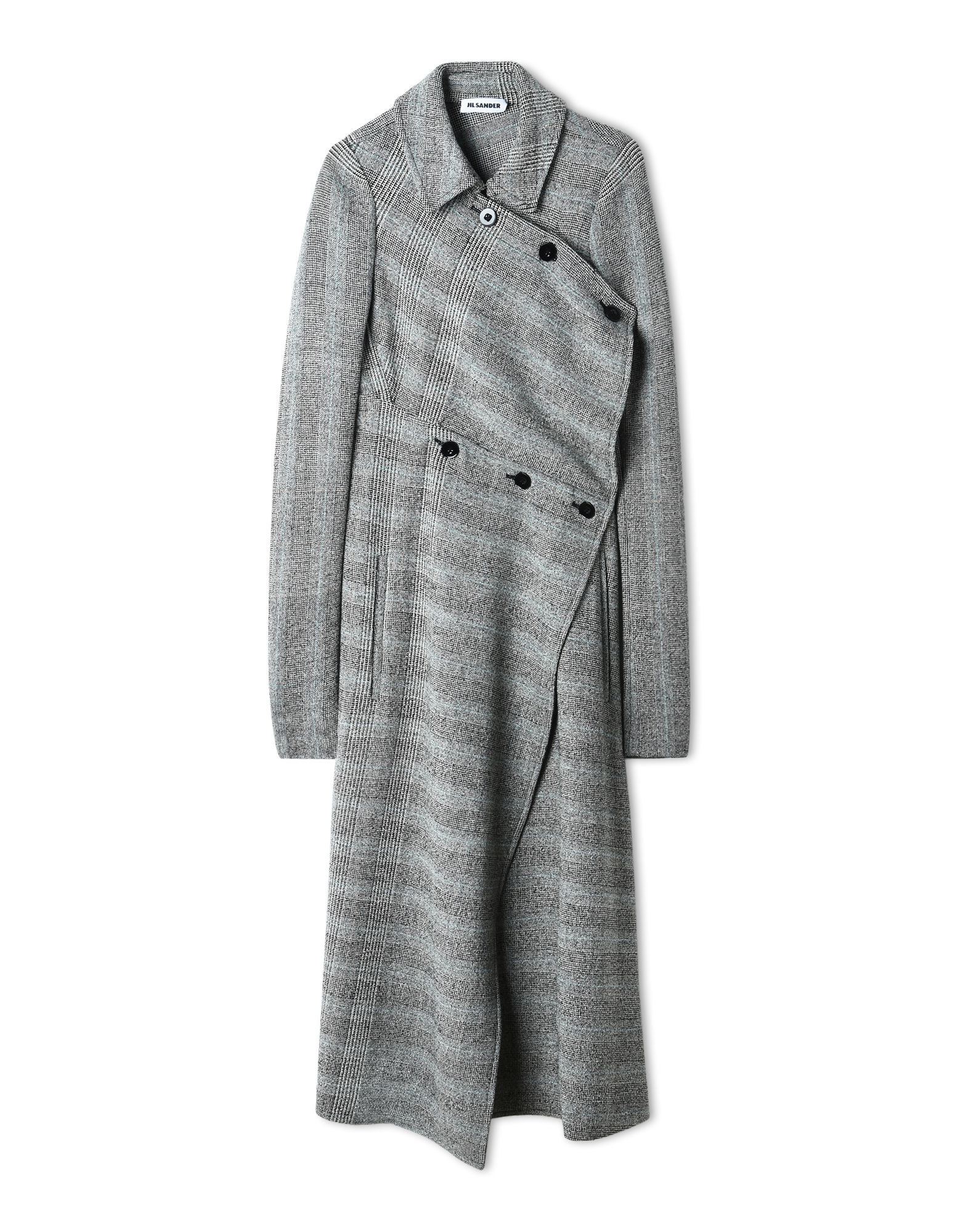 Asymmetric Prince Of Wales Checked Wool-Blend Coat in Gray from Jil Sander