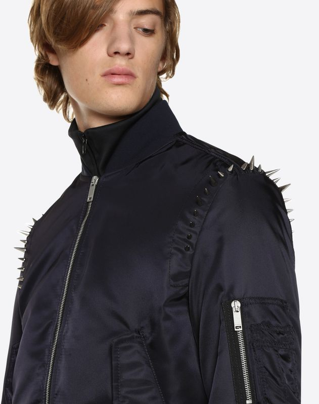 NYLON BOMBER WITH PUNK STUDS ON THE SHOULDERS
