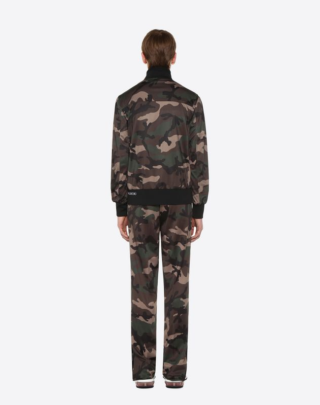 Camouflage-print blouson with vertical stripe inlays