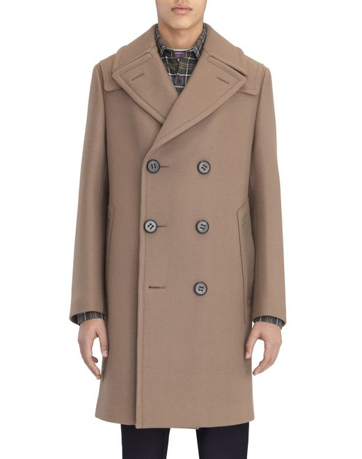 DOUBLE-BREASTED COAT IN COMPACT BEIGE FELT - Lanvin